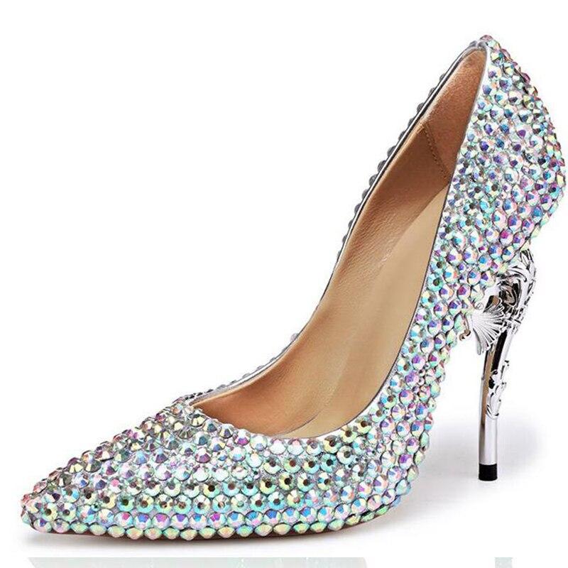61572ebc989 2018 New Rhinestone High Heels Cinderella Shoes Women Pumps Pointed toe  Woman Crystal Wedding heel Shoes 11CM Pumps Bridal Shoe