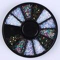 1 Box 1 мм Смешанный Цвет 3D Ногтей Украшения Красочный Круглые Пластины Украшения В Колеса DIY Маникюр Nail Art Аксессуары