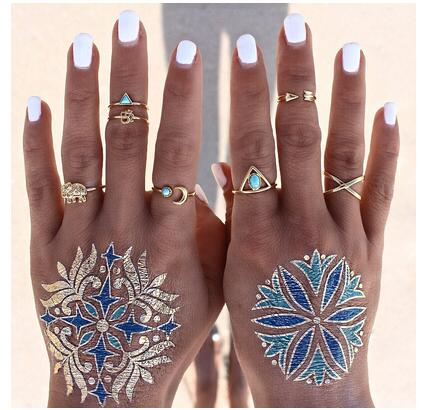 7Pcs/Set New Vintage Punk Antique Silver Plated Arrow Moon Elephant Knuckle Rings For Women Midi Finger Ring XY-R58