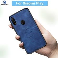 100% Original PINWUYO VINTAGE PU Leather Hard Shockproof Protective Phone Case for Xiaomi Mi Play