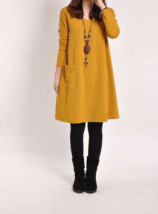women dress 2017 new autumn Fashion Casual loose long sleeve yellow plus size dresses,free shipping,T3245