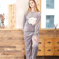 SSH0109 New Fashion Coral Fleece Velvet Nightwear Sleepwear for Women Ladies Blouse and Pants 2 Pieces Pajama Sets Women Pajama