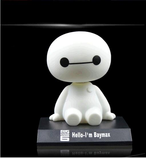 2017 NEW Big Hero 6 Baymax Toy Model Dolls figma 12cm Lovely Cute Automobile Head Shaking Action Figure GIFT head shaking cute cat style toy for car decoration white