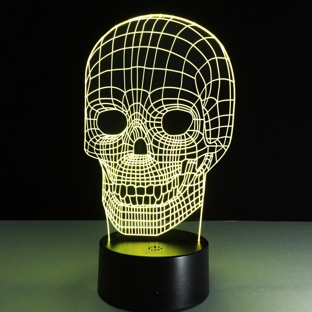 Amazing 3d Illusion Light Skull Led Table Lamp Night Light