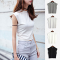 2016 summer brand women tanks tops high neck crop top for women clothing women pullovers