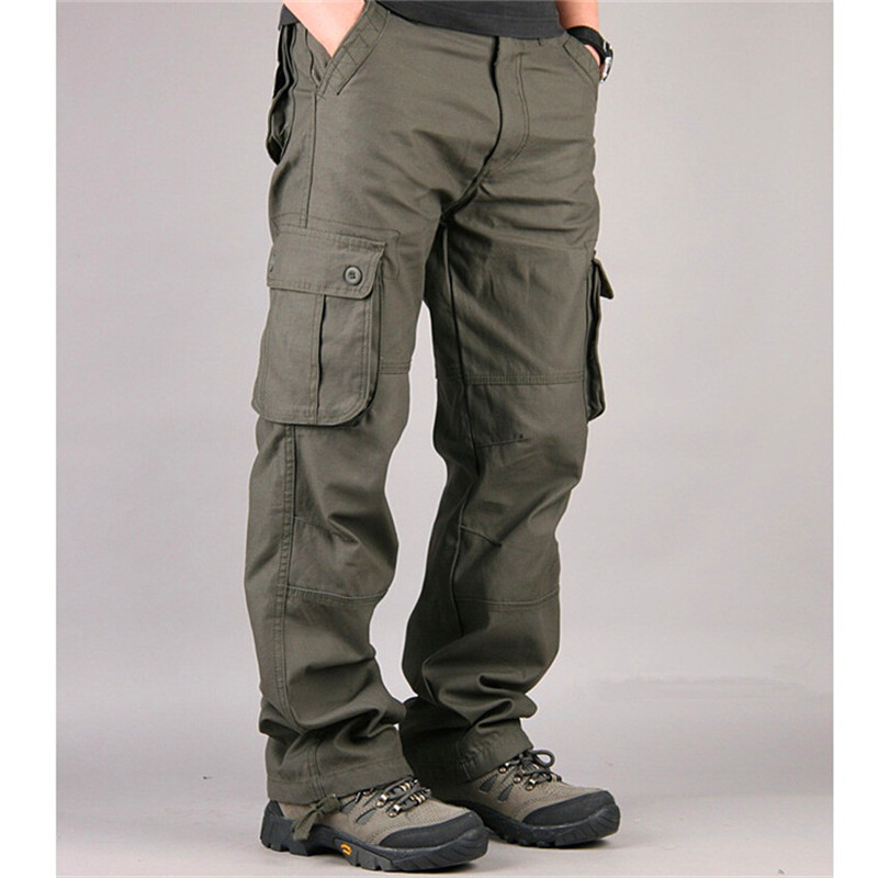 c3448f0e US $27.88 35% OFF Men Cargo Pants Casual Pant Multi Pocket Military Overall  High Quality Mens Outdoors Long Trousers Tactical Male Plus Size 30 44-in  ...