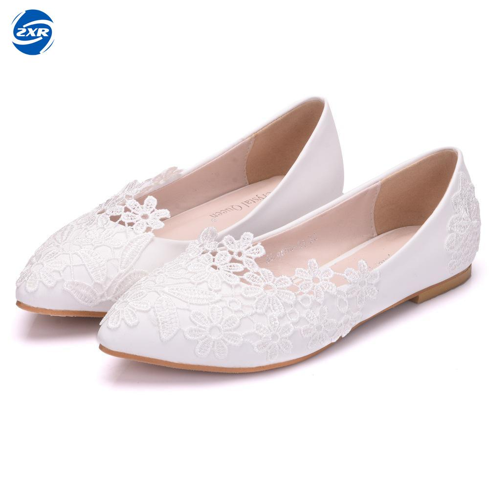 Ballet Flats White Lace Wedding Shoes Flat Heel Casual Shoes Pointed Toe Women Wedding Princess Flats Plus Size 43 flats shoes women ballet princess shoes casual crystal boat shoes rhinestone women flats fashion plus size 35 40 2018 new gift