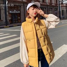 купить PinkyIsBlack Women Fashion Long Winter Vest Women Sleeveless Jacket Winter Waistcoat Female Stand Collar Vest Women's Warm Coat дешево