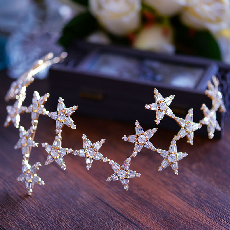 Bavoen Elegant Sparkling Stars Wedding Hair Accessories Gold Brides Tiaras Crowns Crystal Hairbands Evening Hair Jewelry цена