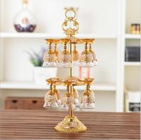 European 12pcs/set decorative metal wine cups drink glass set wine glass set wisky glass for bar set JB006