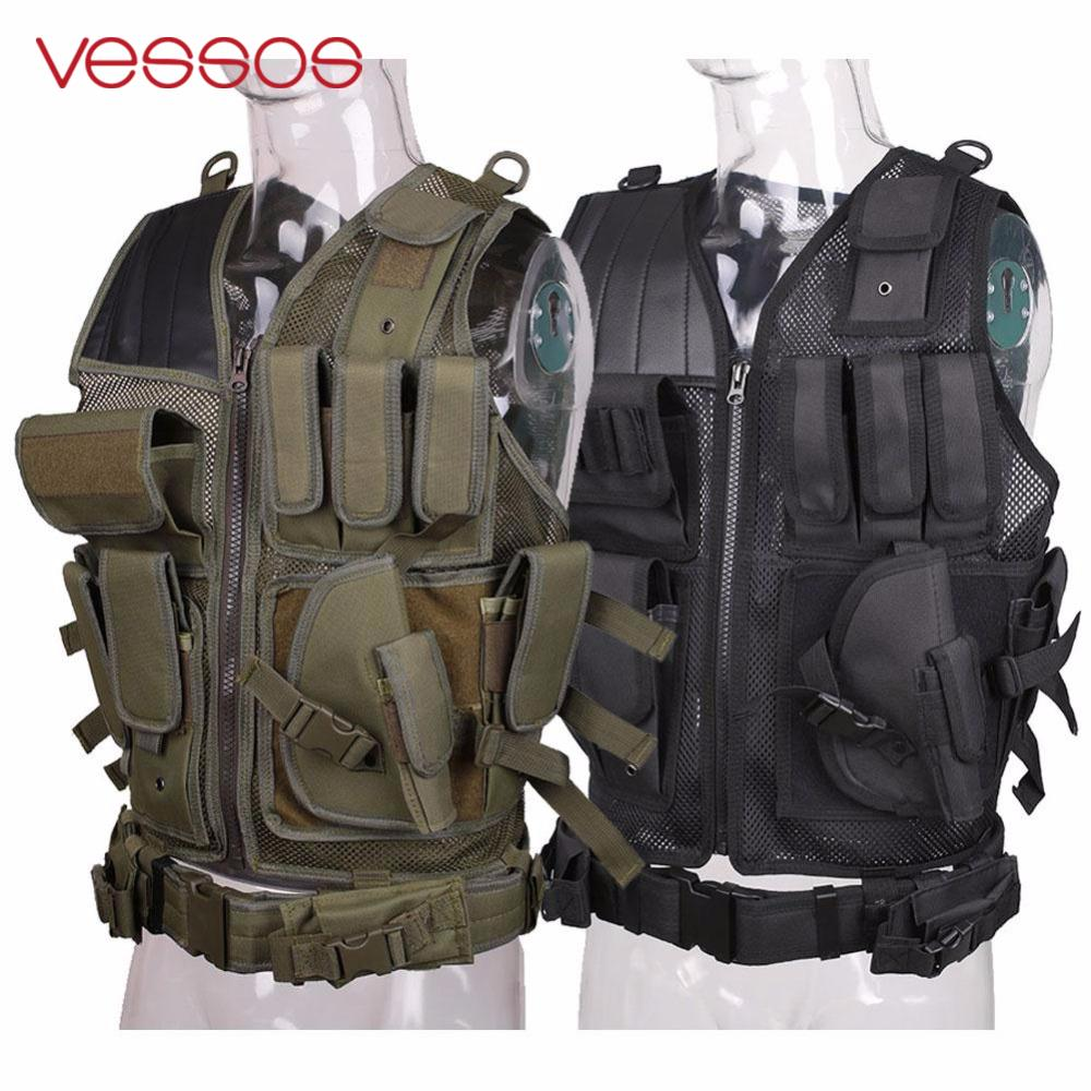 Vessos Military Tactical Vest Army Hunting Molle Airsoft Vest Outdoor Body Armor Swat Combat Painball Black Vest for Men men swat tactical military vest for sportman outdoor hunting hiking camping black vest