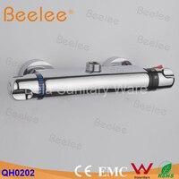 Montado en la pared dos manija termostática grifos mezclador de la ducha termostática grifo, ducha grifo cromado, válvula de latón núcleo ( QH0202 )