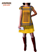 2018 spring african casual A-Line dress for women AFRIPRIDE short sleeve o-neck above-knee length cotton A1825018