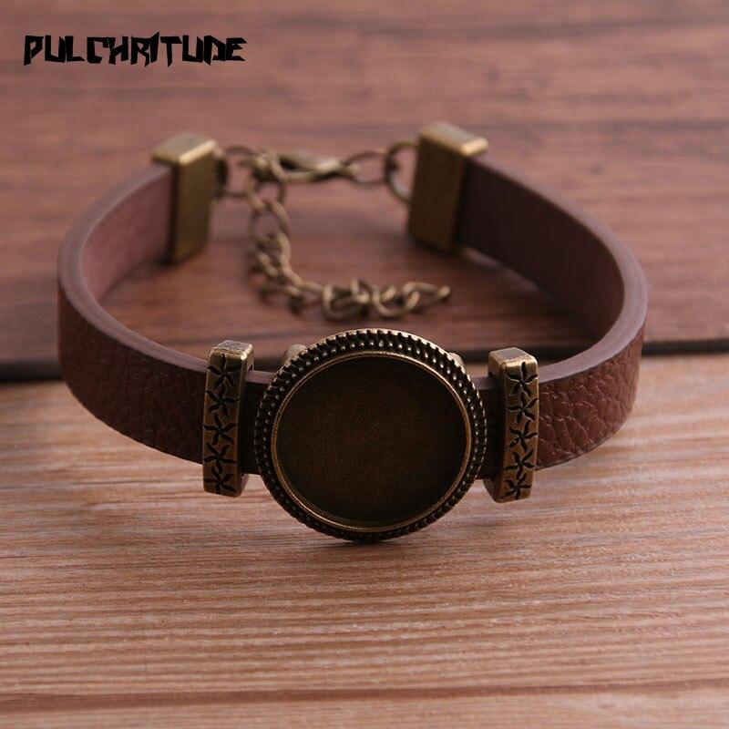 1pcs  PU Bracelets Bangles Base Setting Cuff Blank Trays Brazel Fit 18mm Glass Cameo Dome Cabochon DIY Jewelry Findings P6710