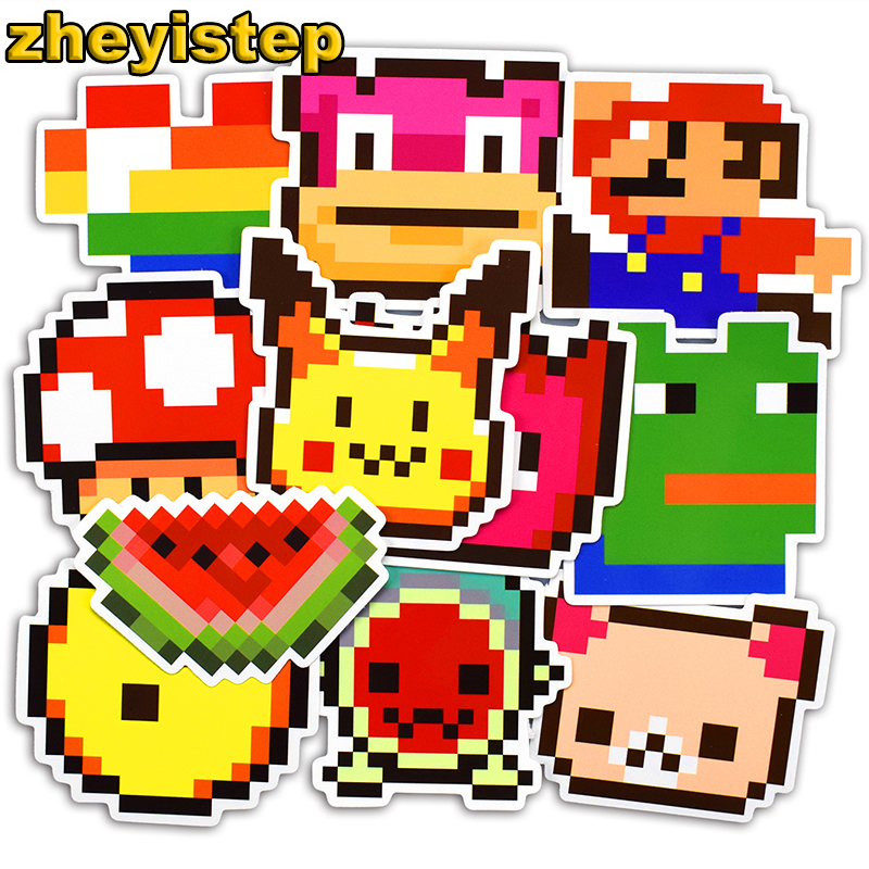 25 Pcs Cartoon Pixel Stickers Graffiti Sticker for Laptop Skateboard Car Luggage Guitar Suitcase Kids PVC Waterproof Stickers 230 pcs rick and morty cartoon pvc waterproof sticker for luggage skateboard phone laptop moto trunk guitar car diy stickers