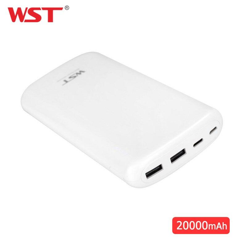 Batterie externe originale de WST 20000 mAh double paquet de Batteries externes de capacité élevée d'usb pour la banque portative de batterie d'iphone Android