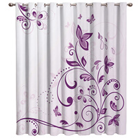 Violet Butterfly Window Treatments Curtains Valance Curtain Rod Living Room Bathroom Decor Outdoor Kitchen Fabric Decor