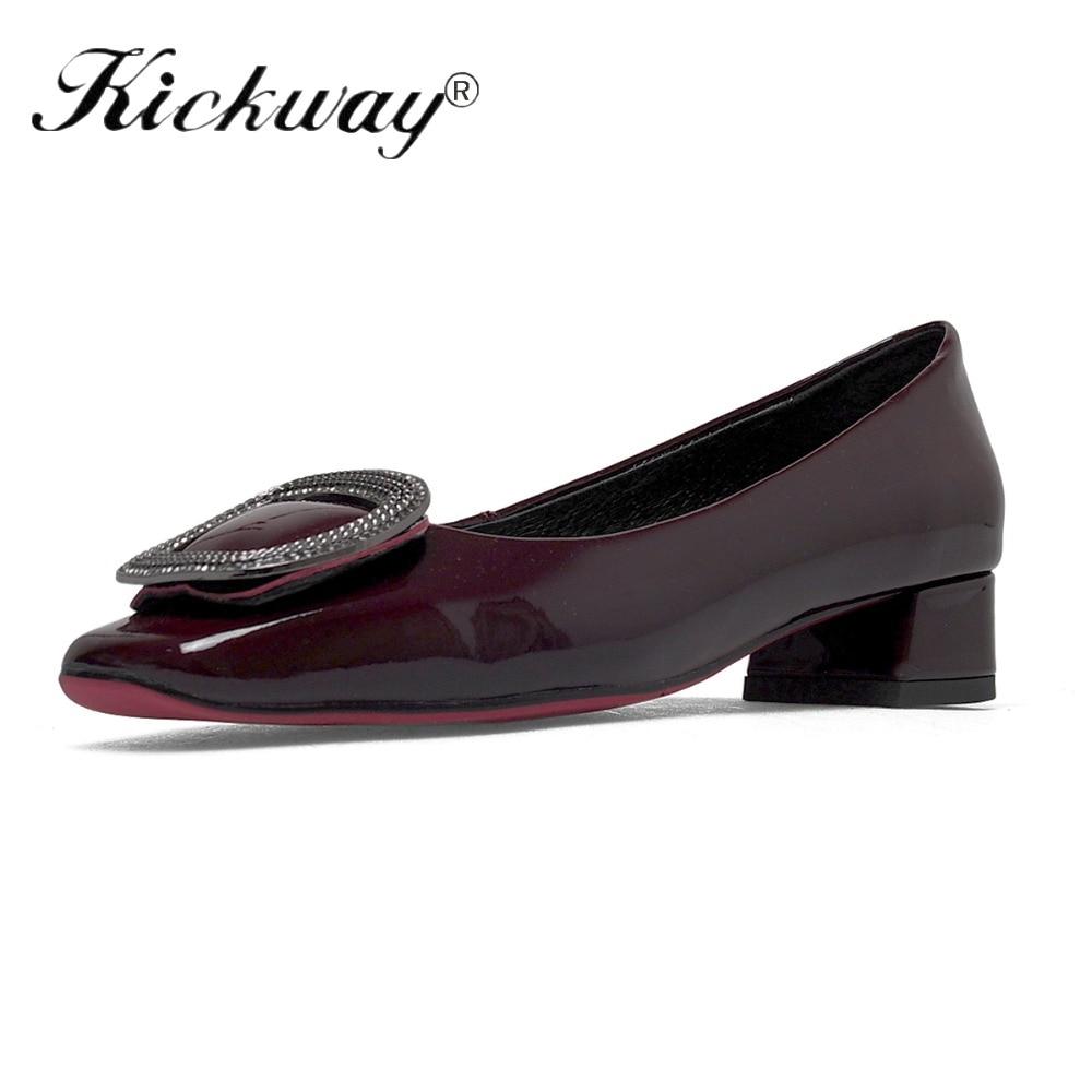 Habillées Travail Femme Mi De Dames Véritable Feminino Talon Strass Bureau Black Cuir Confortable Femmes Cristal vintage Sapato Pour En Chaussures n0PXwOZN8k