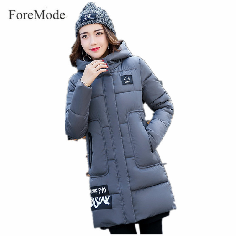 Winter Long Cotton-padded Clothes Cultivate One's Morality Even Cap Down Cotton-padded Jacket Pocket Plus Size S-2XL