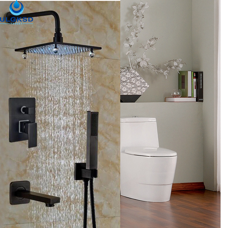 Ulgksd Wholesale and Retail Oil Rubbed Bronze Crystal LED Modular Bathroom 8 Rain Shower Head + Hand Shower Spray Mixer Taps