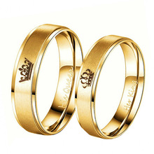Gold Colour King And Queen Stainless Steel Couple Rings