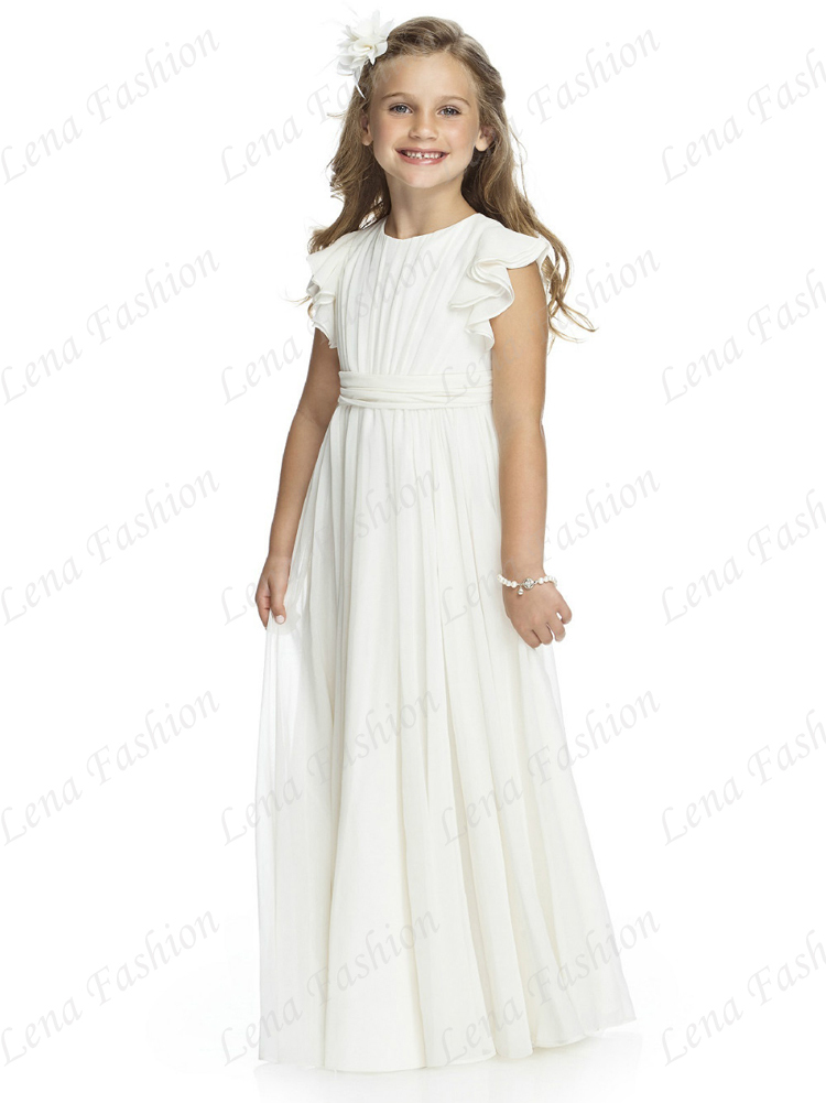 White Floor Length Cap Sleeve Chiffon Child Junior Bridesmaid Dress Flower  Girl Dresses for Wedding-in Flower Girl Dresses from Weddings   Events on  ... e47ec8e0a22f