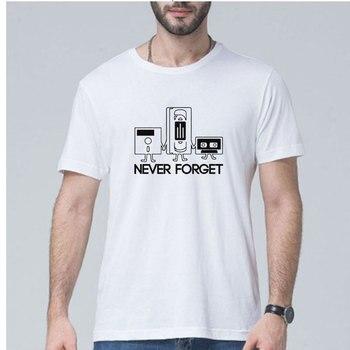 2019 New Summer fashion Men Short Sleeve Never Forget Floppy Disc VHS Cassette Tech Geek Print T Shirts sportswear Plus Size