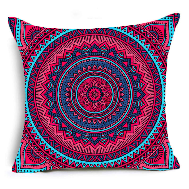 Pink Mandala Print Sofa Cushion Covers