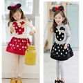 2015 Lovely children clothes for girls Minnie Girls Clothing Sets Children Casual long sleeve T Shirt + Tutu Skirt Kids Clothes