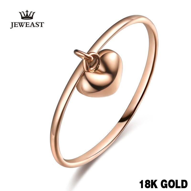 18 К из чистого золота Для женщин кольцо женский сердечка из натуральной подарок для девочки модные Мода Кольца партия Роуз Поддержка настро...