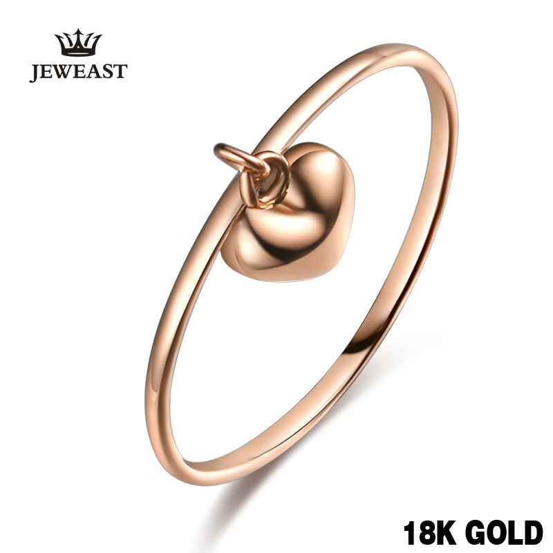 18k Pure Gold Women Ring Female Heart Charm Genuine Real Girl Gift Fashion Trendy Rings Party Rose Support Customization New 18k rose gold women stud earrings double balls fine engaged wedding jewelry fashion female delicate gift hot sale trendy party