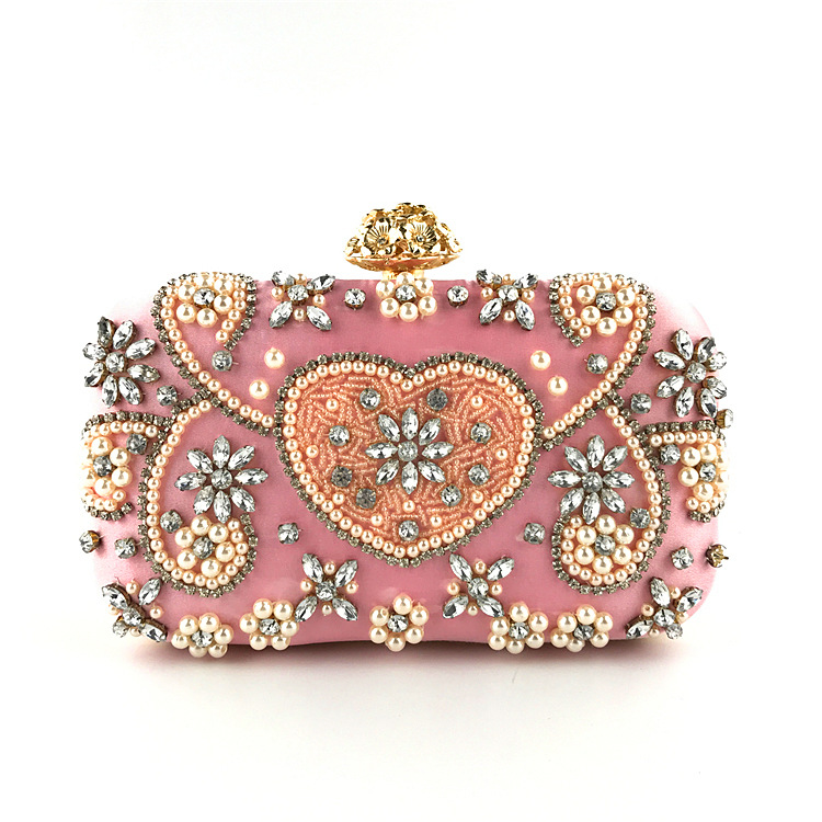 2018 Women's Evening Clutch Bags for Wedding and Party, Pearl Beaded Evening Bag with Detachable Chain