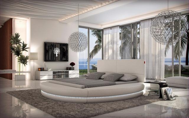 Control remoto de cuero moderno y contemporáneo LED ronda cama muebles de dormitorio de matrimonio Hecho en China