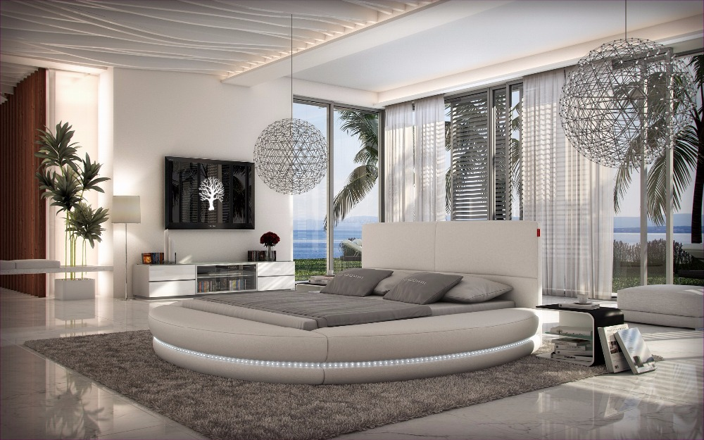 Remote control contemporary modern leather led round bed for Chambre 18m2