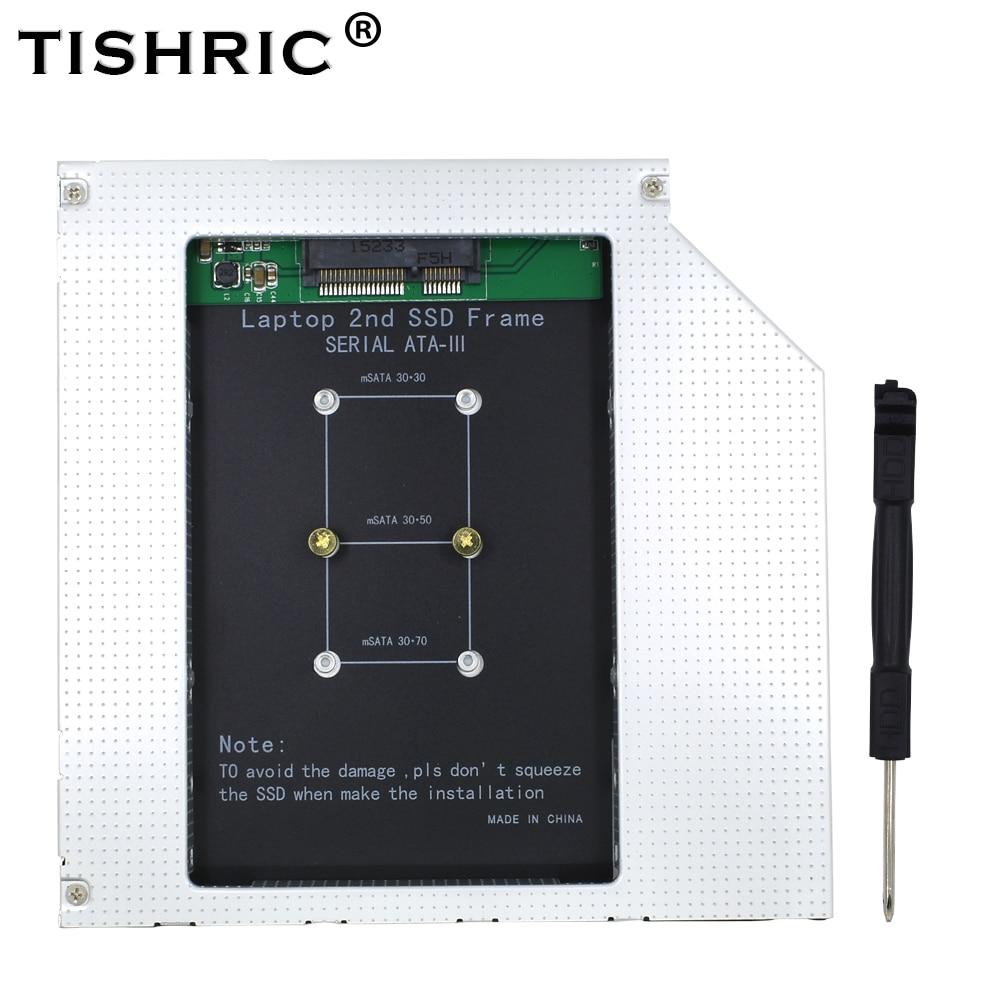 TISHRIC 12.7mm Caddy MSATA 2nd HDD SSD Hard Drive Disk To SATA 3 Enclosure Adapter For Laptop DVD-ROM Optibay Aluminium Case Box