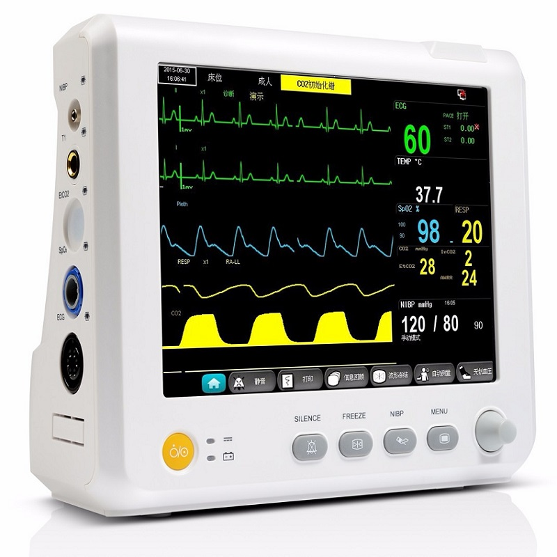 8 Inch Multi-Parameter Patiënt Monitor Parameter Nibp, Spo2, Pr, Ecg, Resp, temp Vital Signs Monitor Nauwkeurige Medische Apparatuur