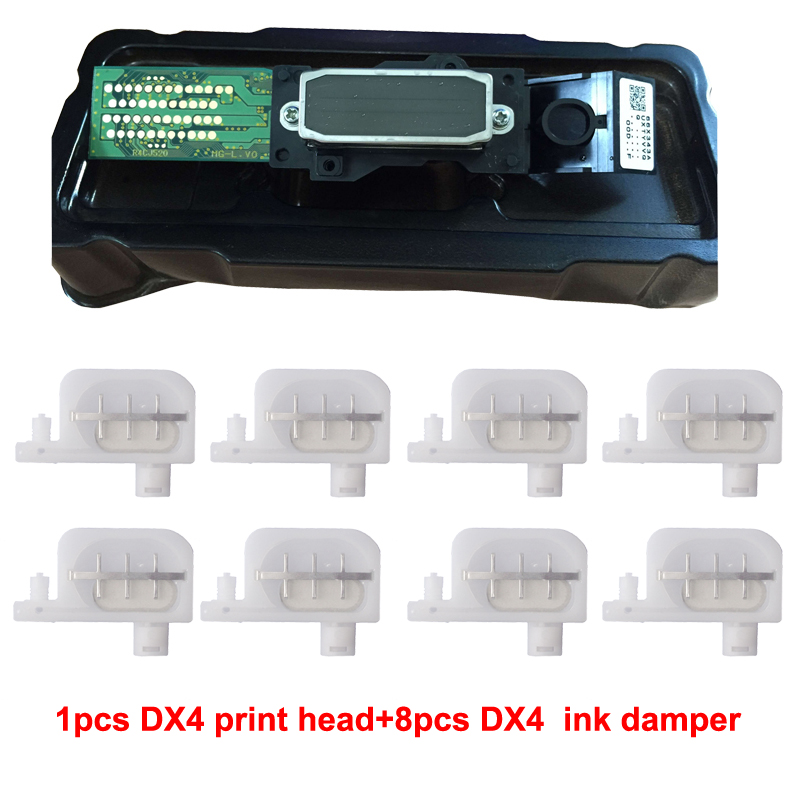 For Epson Mutoh Mimaki Roland DX4 Eco Solvent Print head+20 pcs Cleaning Swab on High Quality Printhead +8 pcs Ink Damper permanent roland xj 640 xj 740 eco solvent chips 6pcs set cmyklclm printer parts