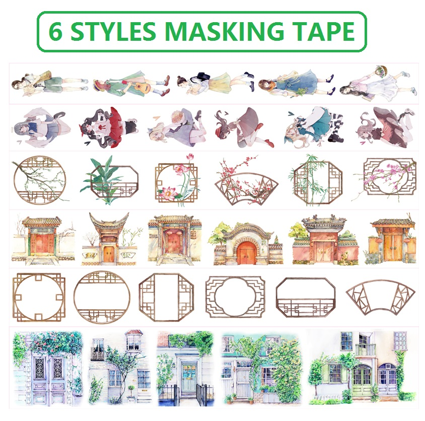 6 Styles Chinese Classical Doors Windows Girls Japanese Washi Decorative Adhesive DIY Masking Paper Tape Label Sticker Gifts