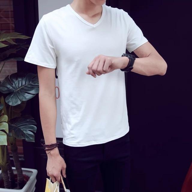 d993cabaa Hot 2016New Large size European and American minimalist men's short sleeve T -shirt cotton personality trend M XL XXL XXXXXLZQ01