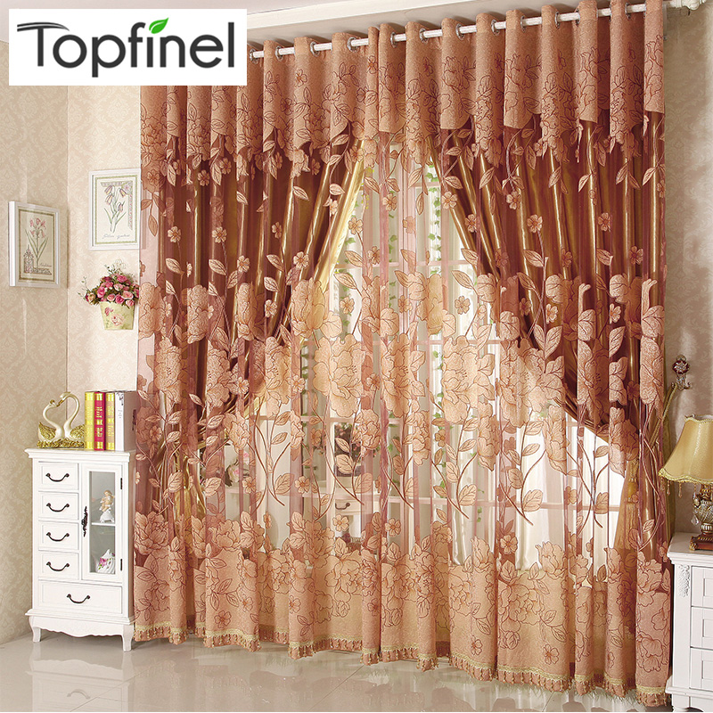 Top Finel Modern Luxury Haftowane Sheer Zasłony do salonu Sypialnia Kitchen Door Tulle Zasłony Zasłony Window Treatments