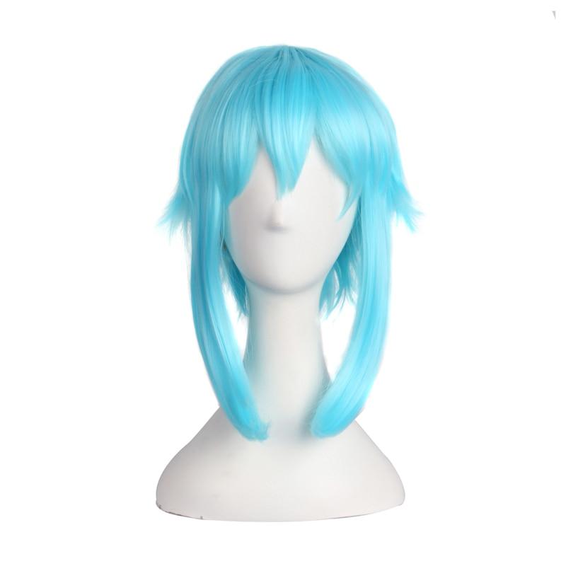 Sword Art Online 40cm Short Ice Blue Cosplay Wig Sinon/Asada Shino Costume Play Wigs Halloween Party Anime Game Hair
