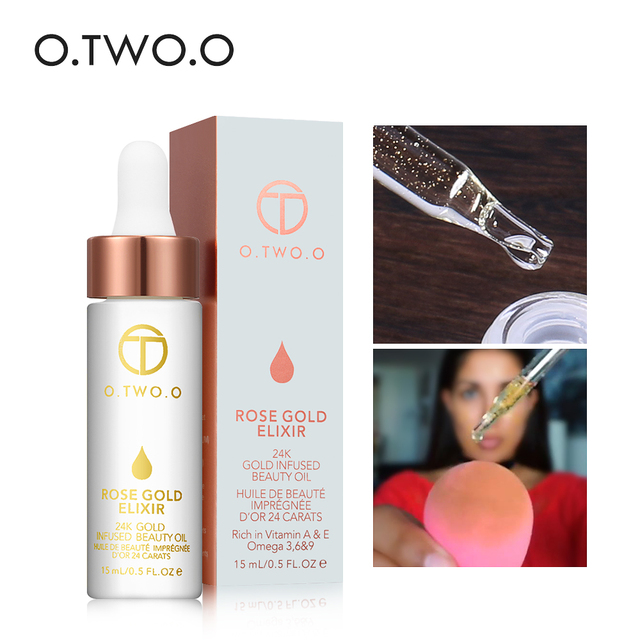 O.TWO.O 24k Rose Gold Elixir Skin Make Up Oil For Face Essential Oil Before Primer Foundation Moisturizing Face Oil Anti-aging 1