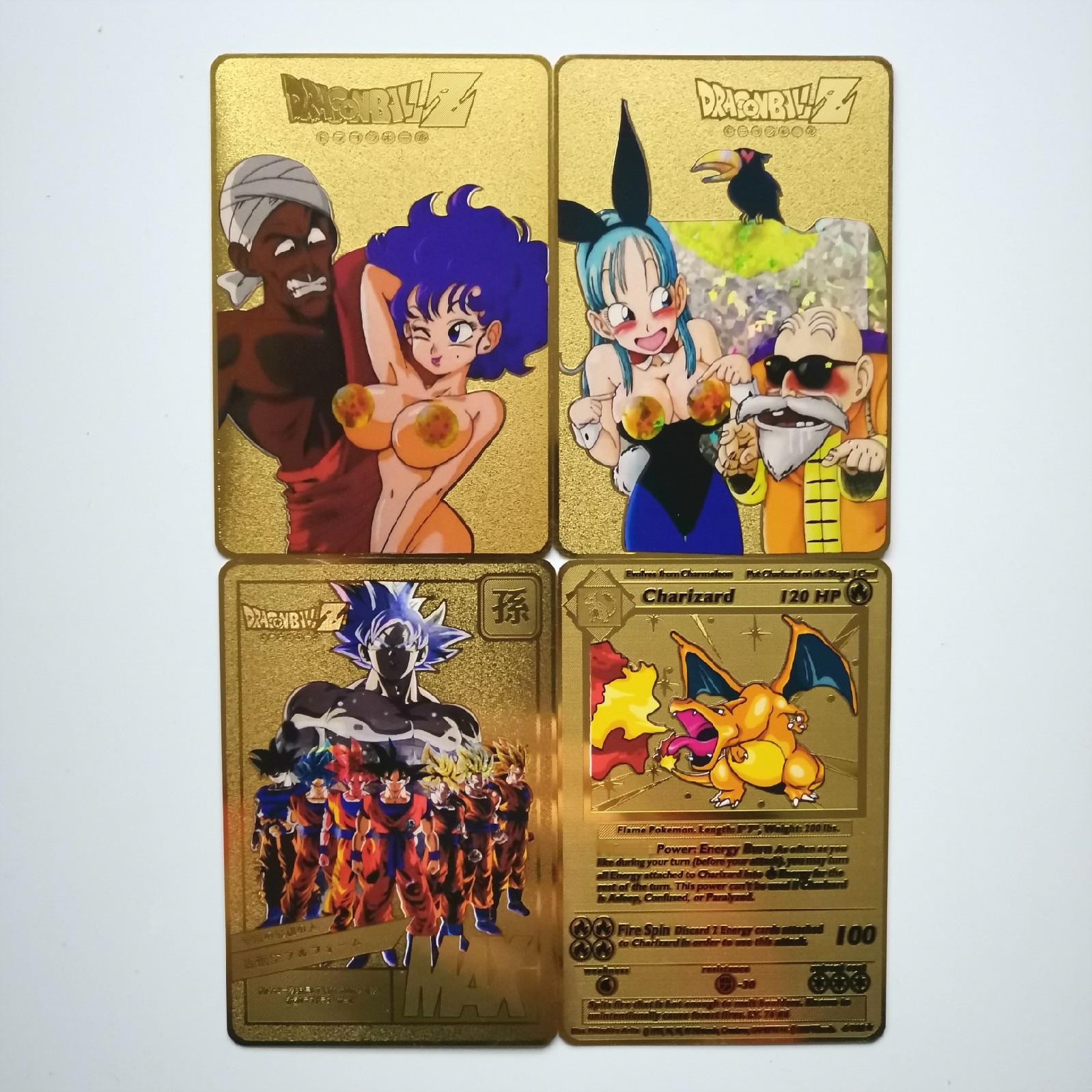 Dragon Ball золотая металлическая карточка супер игра Коллекция аниме-открытки игра детская игрушка