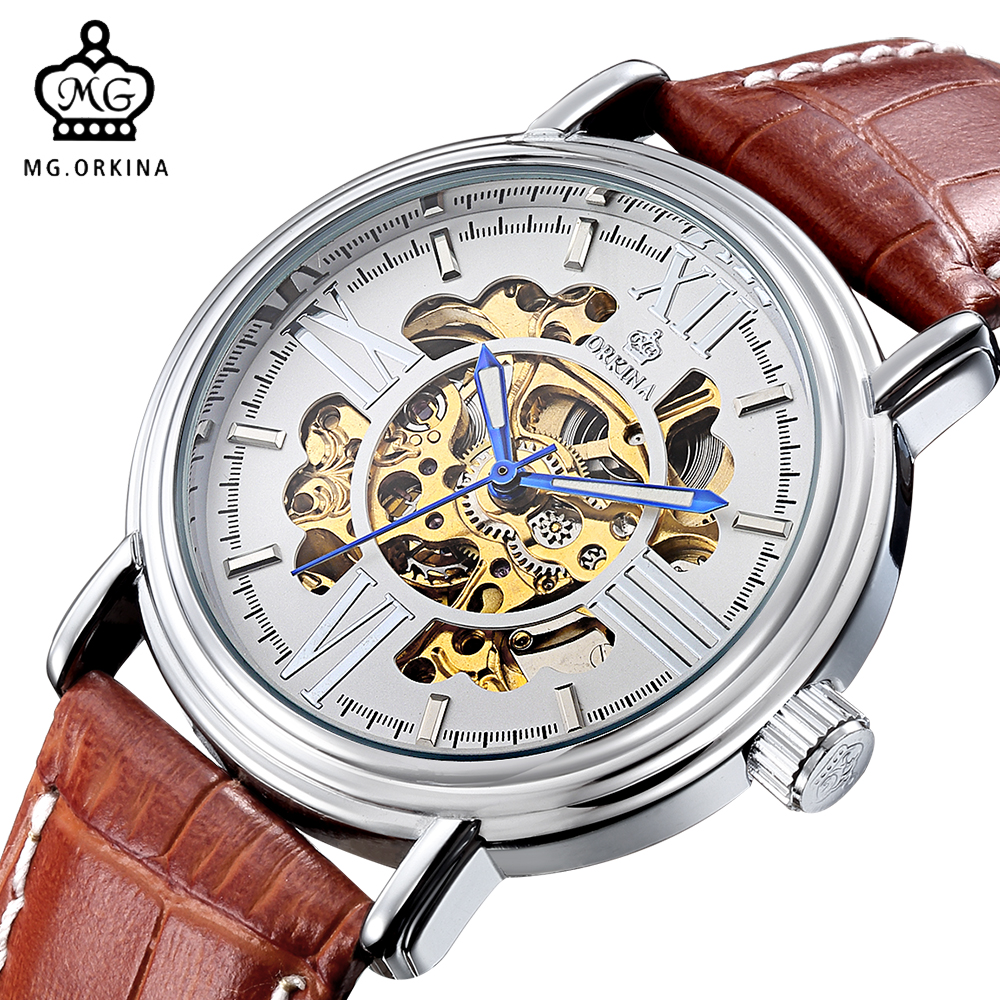 ORKINA Leather Strap Wristwatch for Men Fashion Casual Men's Watch Top Brand Luxury Montre Homme Automatic Mechanical Watches read men s business automatic mechanical leather strap watch luxury brand fashion waterproof wristwatch r8009