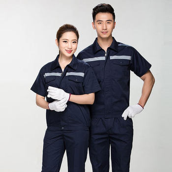 Summer Reflective Thin Work Clothing Sets Unisex Workwear Suits short Sleeve Jacket+Pants Working Factory Uniforms Repair Worker