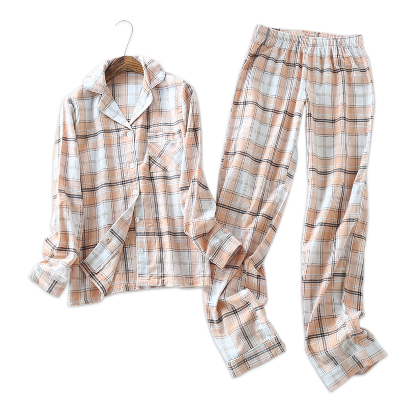 Large plus size Germany 100% brushed cotton Spring simple plaid womens pajamas sets long-sleeved pijamas sleepwear for women plaid