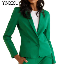 YNZZU 2019 High-quality Women Blazer Single breasted Office Lady Style Coat Business feminino blazer Green slim Jackets YO866