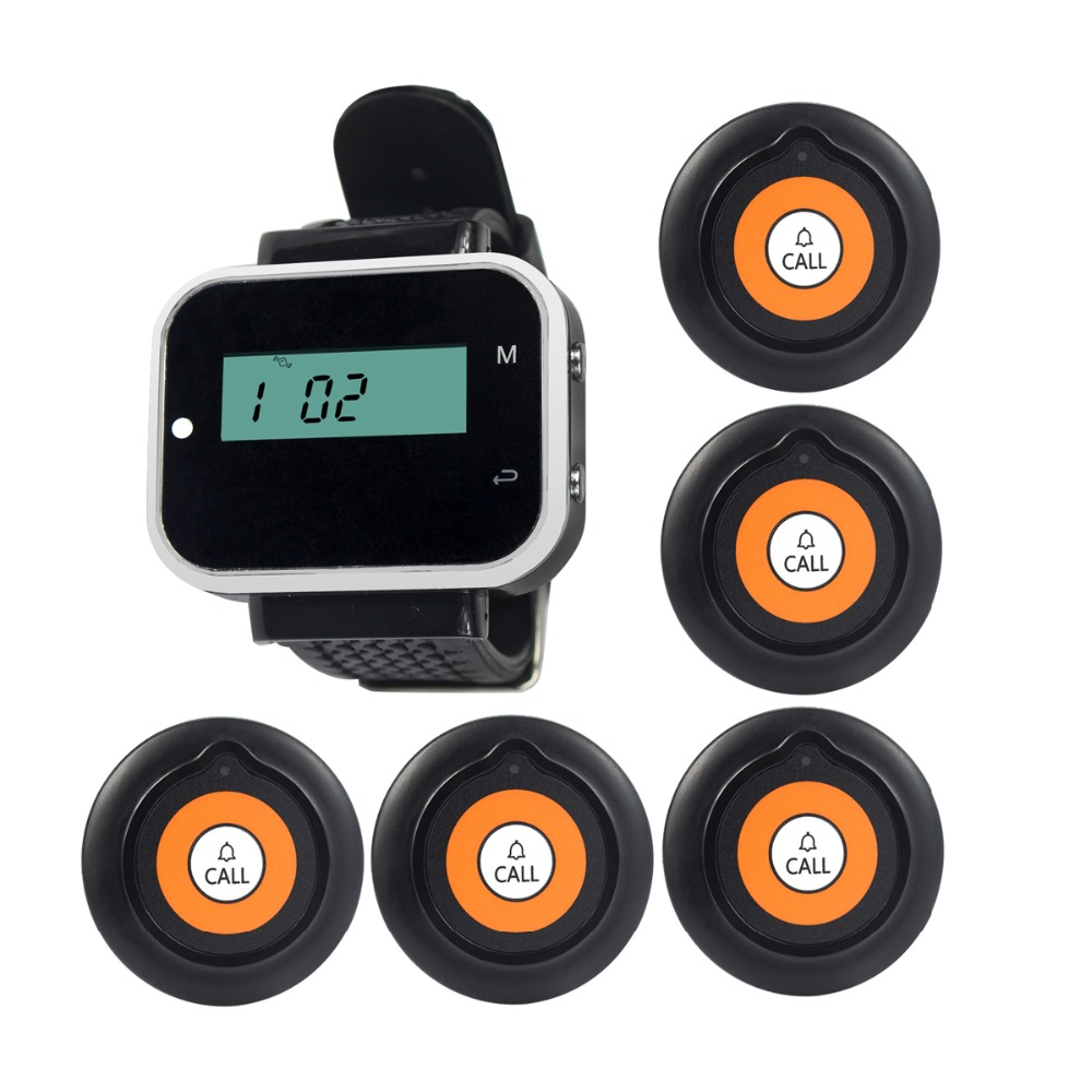 433.92MHz 5pcs Transmitter Button+1 Watch Receiver Host Pager Wireless Calling System for Restaurant Nurse System F3229A wireless service call bell system popular in restaurant ce passed 433 92mhz full equipment watch pager 1 watch 7 call button