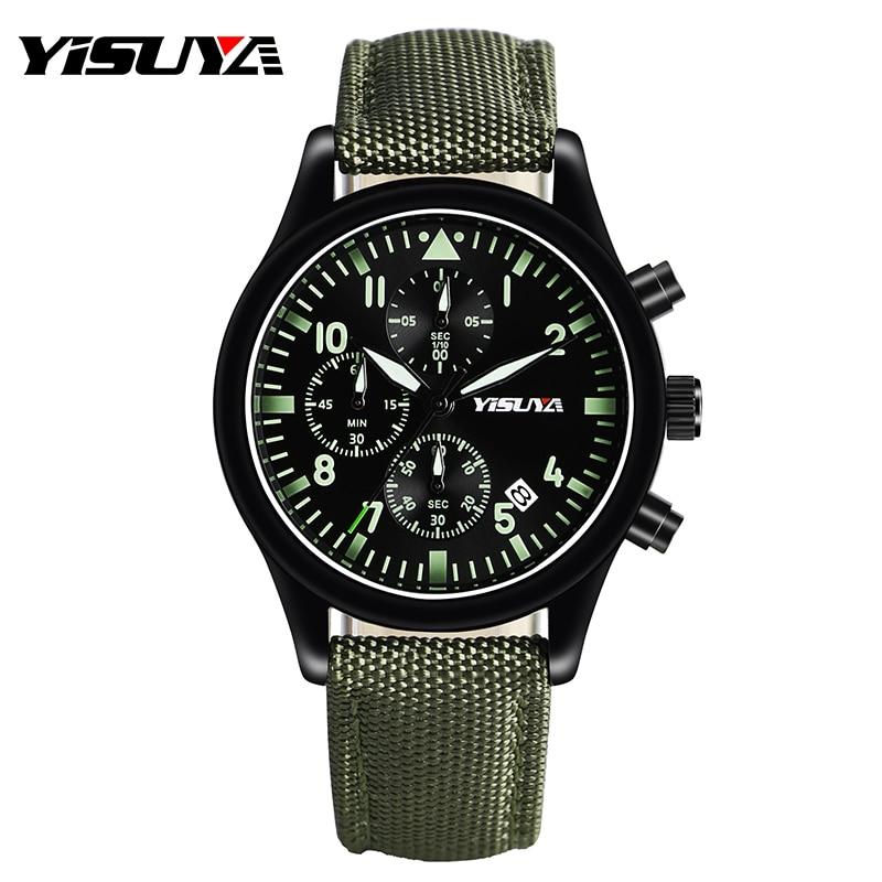 Sport Watch Men Luminous Pilot Day Date Men Quartz Wrist Watch Chronograph Army Military Nylon Band Analog Sport Strap