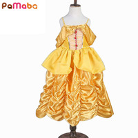 2017 Newest Cute Girl Dress Princess Belle Cosplay Costume Character Sleeveless Kids Performance Clothing For Spring